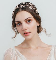Camille Circlet - this incredible headpiece can be worn anywhere on the head. It's a gorgeous garden of floating flowers - once on the Swarovski flowers look like they are floating in the hair. Fancy Hairstyles, Wedding Hairstyles, Hair Up Or Down, Wedding Headband, Bridal Headbands, Aesthetic People, Circlet, Bridal Beauty, Bridal Hair Accessories
