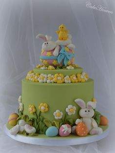Here is my Easter Cake for this year. The storyline behind this cake is that these bunnies are really happy this year because they have a lot of Easter eggs to eat. One bunny managed to get his hands on the largest Easter egg ever, but he is so. Easter Bunny Cake, Easter Cupcakes, Easter Cookies, Easter Treats, Easter Eggs, Easter Cake Fondant, Bolo Cake, Rabbit Cake, Spring Cake