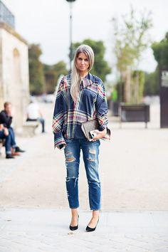 boyfriend jeans + plaid shirt (sarah harris)