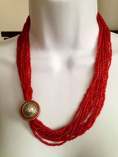 Red Glass Bead Necklace with Silver Pendant