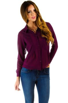 $16 at www.heavenlycouture.com Naked Zebra Sheer Button Down Open Back Blouse in Purple : Tops