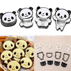 4pcs/set Panda Fondant Cutter Cake Tools Cookie Biscuit Cake Mould Craft DIY 3D Sugarcraft Cake Decorating Tools Flower 4 #Affiliate
