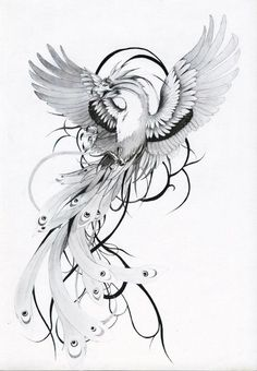 a phenix tattoo design. Phoenix Tattoo Feminine, Phoenix Bird Tattoos, Phoenix Tattoo Design, Phoenix Back Tattoo, Rising Phoenix Tattoo, Body Art Tattoos, Small Tattoos, Sleeve Tattoos, Tatoos