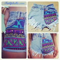 Colorful Tribal Aztec print shorts vintage high waist or low rise hip huggers. Also Giveaway. $39.00, via Etsy.