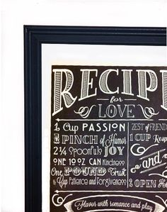 Love Recipe Art- a perfect valentine's day gift!