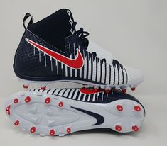 Nike Lunarbeast Strike Pro 3 4 TD Mens Football Cleats Red White Blue Size  11.5 0f77a6e6d