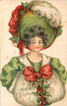 Christmas~Edwardian Girl in Lime Green~Huge Red White Holly Hat~Fur Muff~Nister