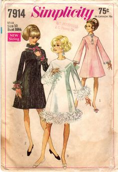 1960s Simplicity 7914 Vintage Sewing Pattern Misses Party Dress, Cocktail Dress, A-line Dress, Princess Dress Sizes Bust 32-1/2, Bust 34 by midvalecottage on Etsy