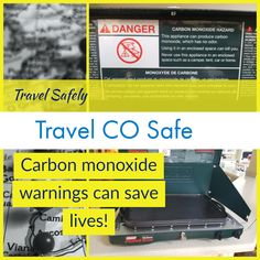 1 day until departure for our cross country trip from Chicago to Cali! Happy to see a carbon monoxide warning on the Coleman U. Carbon monoxide safety is NOT common knowledge!