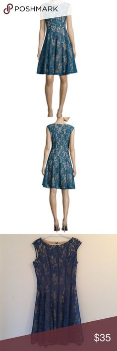 """Teal Nude Sleeveless Lace Fit-and-Flare Dress Never been wore, purchased it for a backup dress for a fall wedding -- 100% Polyester shell, 38"""" length from shoulder Danny & Nicoles Dresses Midi"""