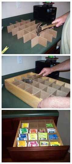 DIY Tea Drawer - could fit to any box, too.: