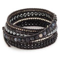 Chan Luu Wrap Bracelet ($225) ❤ liked on Polyvore featuring jewelry, bracelets, accessories, braccialetti, matte black sardonyx mix, beads jewellery, beaded wrap bracelet, beaded bangles, button jewelry and beading jewelry