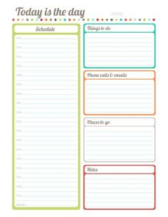 "Free printable fillable ""Today is the Day"" planner/diary part of the Harmonized House Project - Labels also :):"