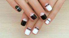 Black and white nail ideas, Ideas of winter nails, Jeans nails, Manicure for young girls, Medium nails, Modern nails, Nail art stripes, Nails by black and white dress