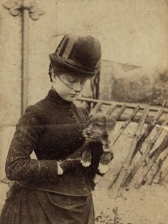Victorian Lady with Dog Ca 1890