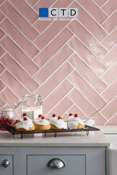 Discover our complete collection of ceramic, porcelain & natural stone tiles online on at one of our 95 showrooms. Bathroom Interior Design, Kitchen Interior, Kitchen Decor, Kitchen Design, Kitchen Tiles, Kitchen Colors, Pink Kitchen Walls, Pink And Grey Kitchen, Home Design