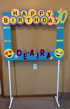 Diy emoji photo booth frame party decorations...all custom work