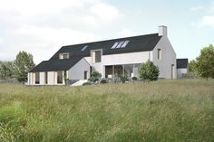 New Family house overlooking the sea. Planning received May 2015 Farmhouse Architecture, Modern Architecture, House Designs Ireland, Long House, Rural House, House Roof, Types Of Houses, Modern Farmhouse, Modern Barn