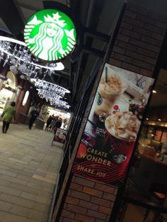 Starbucks with Christmas Lights