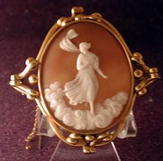 Cameo Of A Muse In The Clouds Set In Pinchbeck  c. 1860
