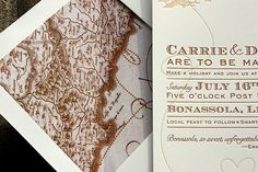 "A vintage map of Italy lines the envelope for this travel-themed suite. (PostScript Brooklyn's ""Come Fly with Me"")"