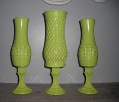 3 upcycled Lime green vases ... pedestal vases Wedding ... Party ... Display via Etsy