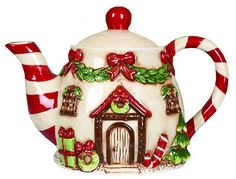 Dol Victorian Gingerbread House Holiday Christmas Tea Pot