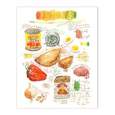 "Empanadas recipe Archival giclee reproduction print. Signed with pencil. Printed on fine art "" BFK Rives "" hot-pressed paper, smooth surface, 140 lb, 100% cotton (acid free ), using archival pigment i"