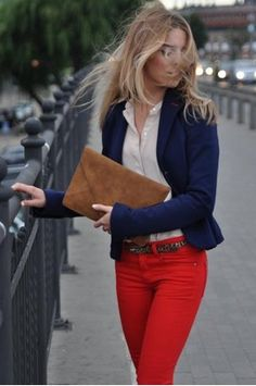 white blouse+ red pants + navy blazer = great outfit (love the added touch of the animal print belt) Fashion Mode, Look Fashion, Womens Fashion, Fashion Design, Mode Style, Style Me, Red Pants, Red Trousers, Passion For Fashion
