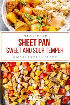 Freeze Friendly Sheet Pan Sweet and Sour Tempeh - Meal Prep on Fleek™ Vegan Meal Prep, Lunch Meal Prep, Meal Prep Bowls, Easy Meal Prep, Easy Meals, Dinner Meal, Quick Dinner Recipes, Lunch Recipes, Healthy Recipes