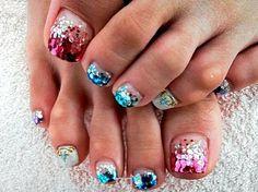 cutest toenail designs | ... toe nail designs glitter acrylic nails pedicures designs glitter tip