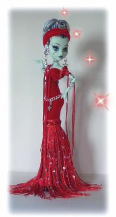 Red Custom Monster High Doll Dress Morticia Type by Cindy | eBay