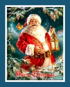 Santa Claus Picture Lighted On Canvas Print Christmas LED Art Paintings Victorian Christmas, Christmas Art, Christmas Greetings, Vintage Christmas, Christmas Mantles, Christmas Villages, Silver Christmas, Christmas Things, Father Christmas