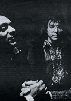 Ravi Shankar, Owsley the LSD chemist looks on.    Photo by Jim Marshall at Monterey (1966)