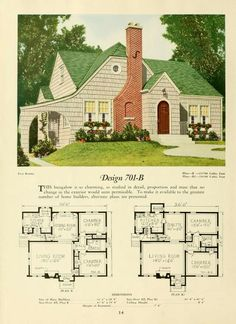 National Plan Service, Inc., Chicago, 1920, Plan 710-B Lovely story-and-a-half bungalow with several lovely features and interesting architec6