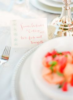 Photography by cocotranphotography.com with Kathryn Murray Calligraphy Menu