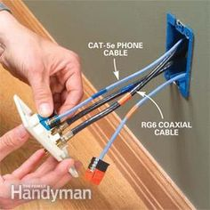 Installing Cat-5 and coaxial cable for Internet, computer, telephone and other uses.
