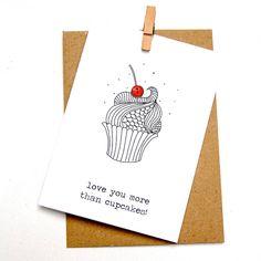 'Love you more than cupcakes' Button Box Card.