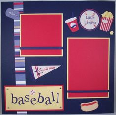 baseball 2 picture 1 page scrapbook layout