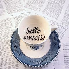 Hello Sweetie Dr Who themed Blue teacup and saucer
