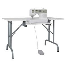 Sew Ready Folding Multipurpose in.W x 28 in. D PB Craft Sewing Table with 22 in. W Drop-Down Platform, White 13373 - The Home Depot Folding Sewing Table, Sewing Desk, Diy Sewing Table, Sewing Machine Tables, Sewing Room Storage, Sewing Cabinet, Sewing Room Organization, Sewing Machines, Folding Machine