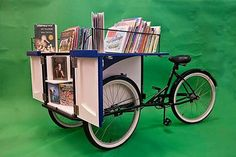 """Cleveland Heights-University Heights Libraries: """"Since the Book Bike is people-powered, it promotes sustainability and literacy at the same time. Little Free Libraries, Little Library, Free Library, Library Books, Public Witnessing, Mobile Library, Cleveland Heights, Ohio, Book Nooks"""
