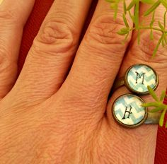 Initial Rings Antique Bronze Custom Made With Your by Mindiemay, $27.99