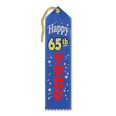 "Pack of 6 BlueHappy 65th Birthday Award"" School Award Ribbon Bookmarks 8"", Blue"