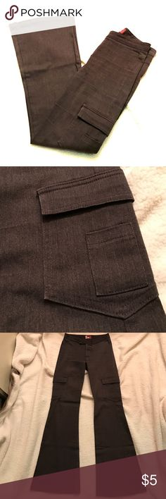 Tight Gray Slacks These pants were well-loved.  They have two functional cargo pockets on both legs with mini patch pockets.  Zip fly and velcro closure.  30-inch inseam and 10-inch leg opening.  Selling because they are too tight for me now.  There's pilling on the back mostly in the seat area (see picture) and some pilling and wear marks on the upper front.  Comment for more pictures.  Dry clean only. ALLOY Pants Boot Cut & Flare