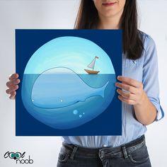 Hoy la gran ballenita ha decidido pasear cerca de la superficie del mar pero con mucha calma para no molestar a la silenciosa barca de vela. Una ilustración de estilo infantil que gustará mucho a los niños.