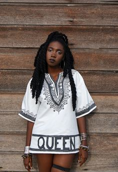 blackfashion:Black and white Dashiki hand painted and made by me. Kesia, Barbados IG: kingkesia