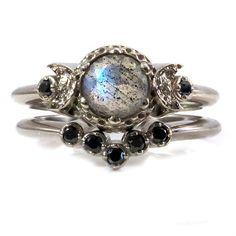 Labradorite and Black Diamond Engagement Ring Set - Moon Phase Wedding Ring - White Rose or Yellow Gold