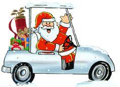 Santa on a Golf Cart