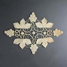 Beautiful Antique Crochet Lace - Ivory Grapes & Leaves - Edwardian Winery Home Decor - Vintage Textile Collage Supplies